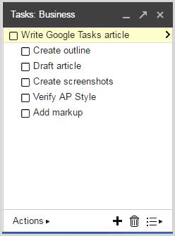 Add sub-tasks in Google Tasks