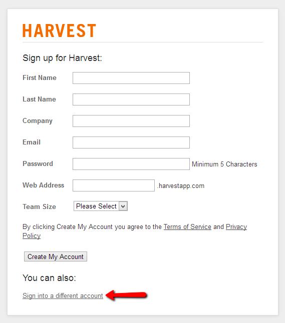 Harvest Signup Form