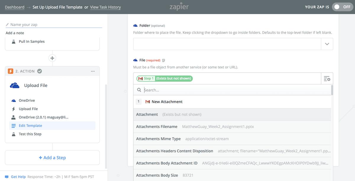 Zapier copy file to OneDrive