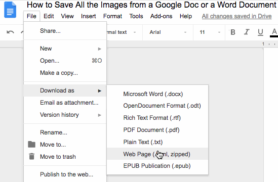 Download a Google Doc as a Web Page