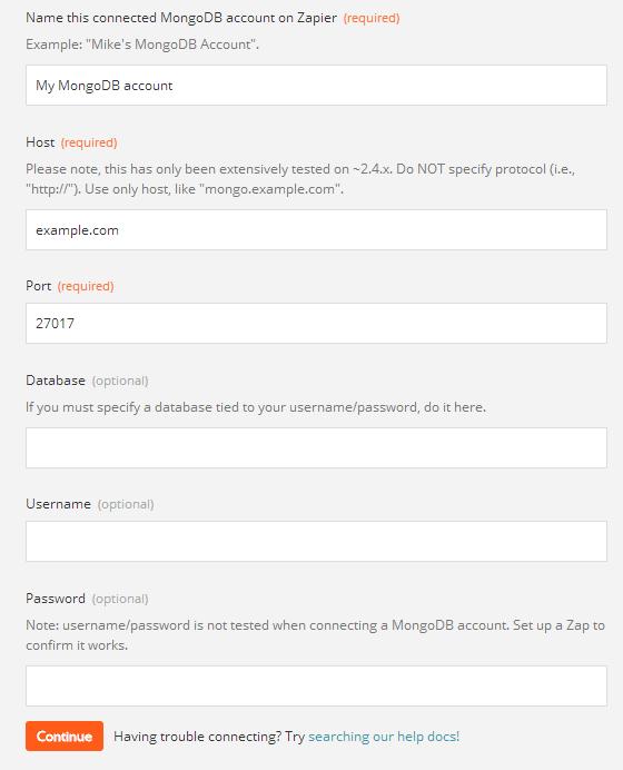 MongoDB - Integration Help & Support | Zapier