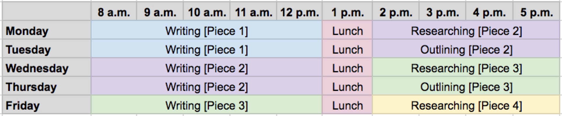 Schedule in a spreadsheet