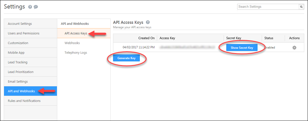 LeadSquared API access keys screenshot