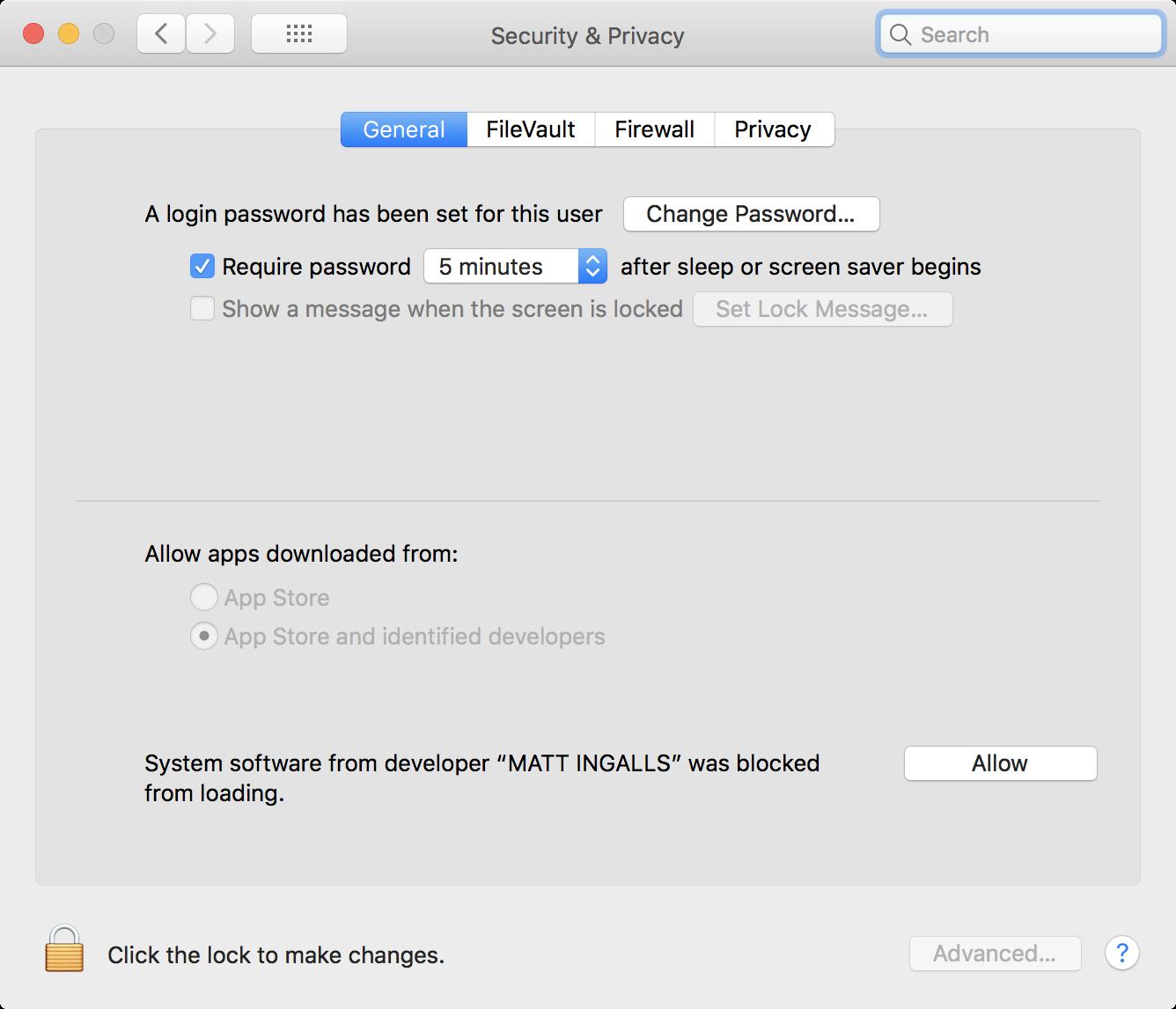 macOS security settings