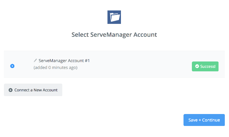 ServeManager connection successfull