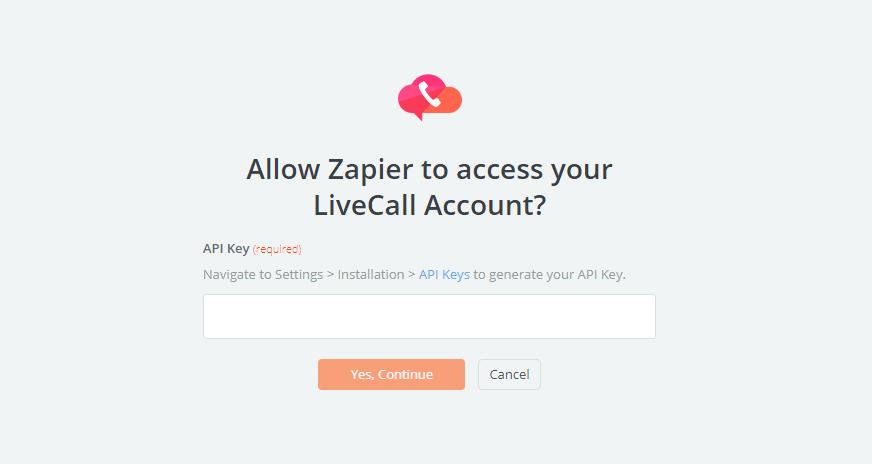 LiveCall API Key