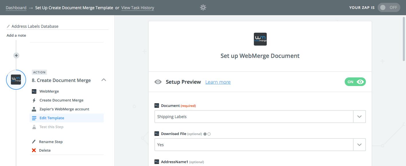 Zapier WebMerge