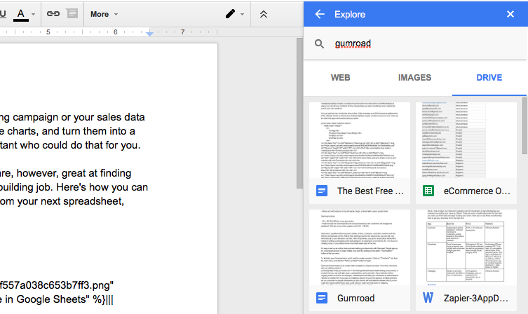 Search Google Drive from Docs