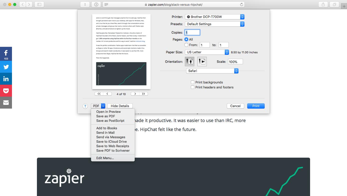 PDF options macOS