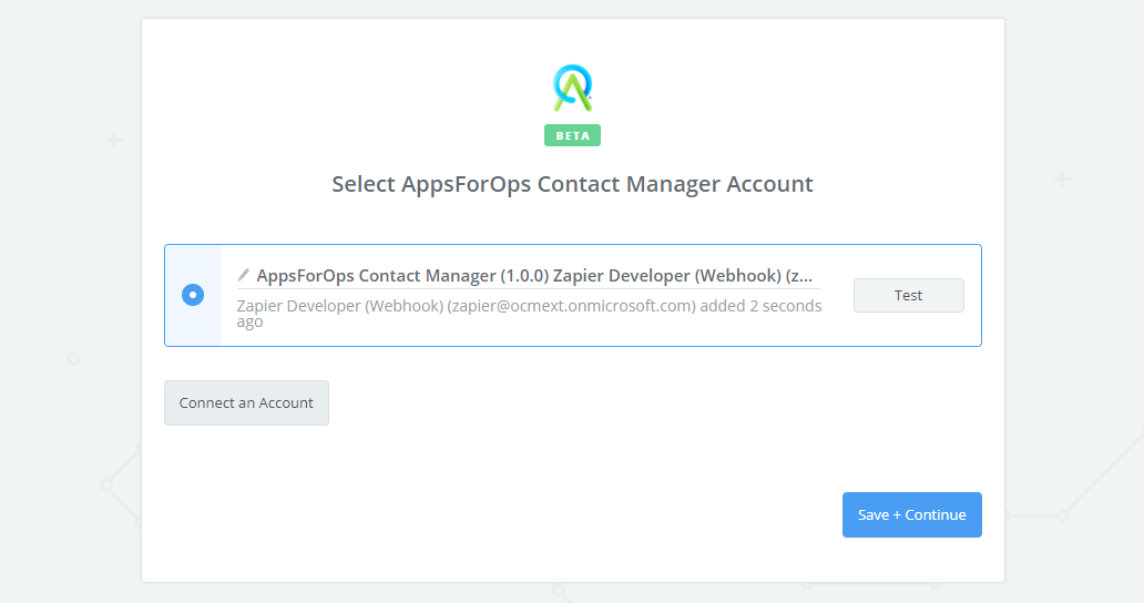 AppsForOps Contact Manager connection successful