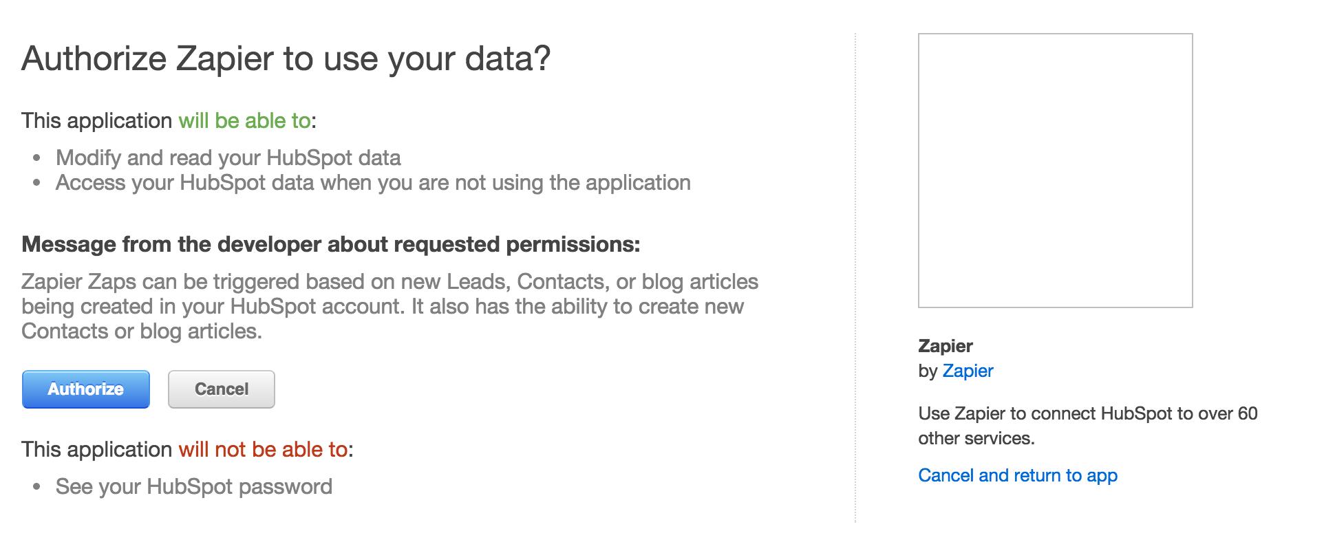 Authorize Zapier for HubSpot.