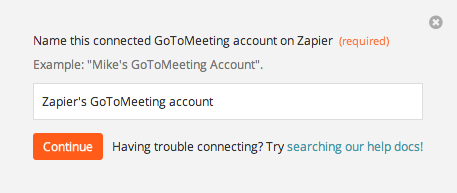 Name the GoToMeeting account inside Zapier