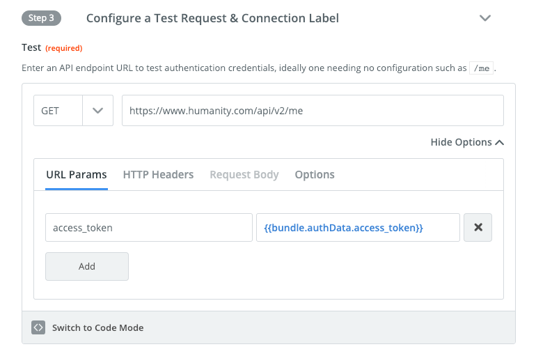 Session auth test API request