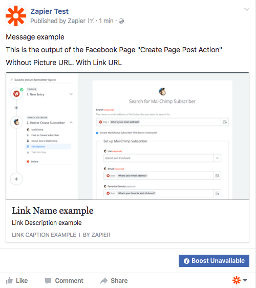 Create Page Post Action without picture url but with link url output