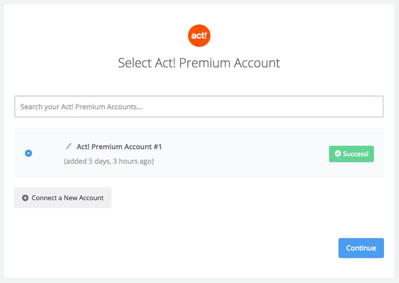 Act! Premium connection successfull