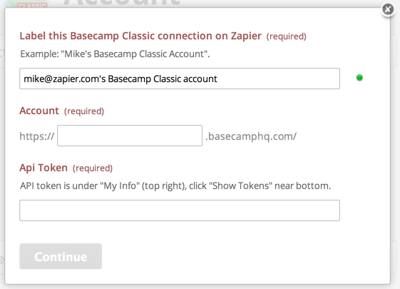 Connect Basecamp Classic Step 2
