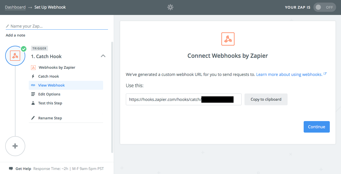 Make a Webhook Zap in Zapier