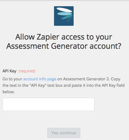 Assessment Generator API Key