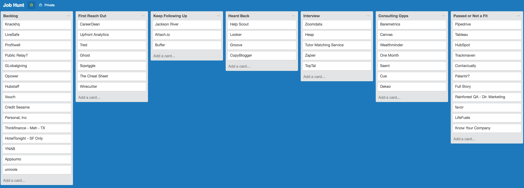 A screenshot of the Job Hunt Trello board. There are 7 Lists. From left to right, Backlog, First Reach Out, Keep Following Up, Heard Back, Interview, Consulting Opps, and Passed or Not a Fit. Each List has Cards in it with the names of companies.