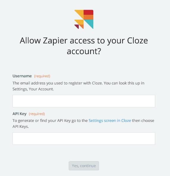 Cloze API Key