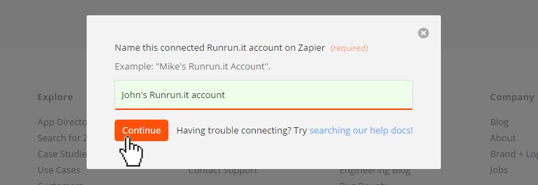 Name the Runrun.it account inside Zapier