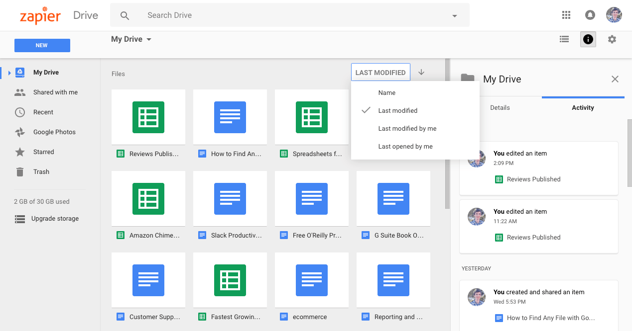 Google Drive Last Modified