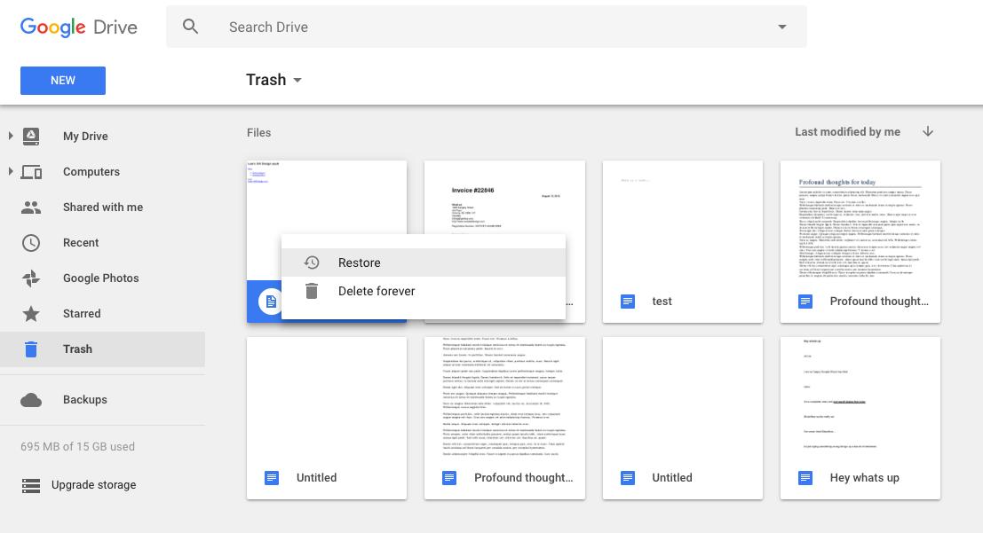 Restore files in Google Drive