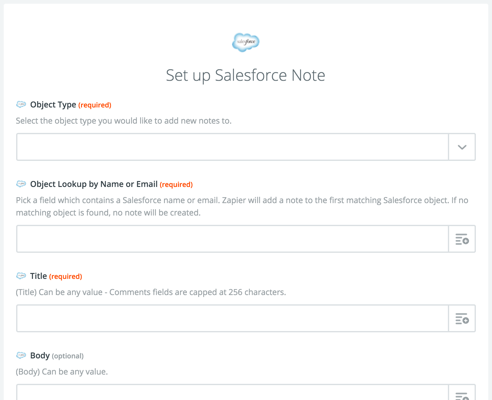Salesforce New Note Action