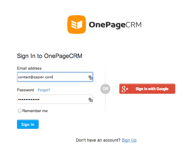 Log in to authorize your OnePage CRM account