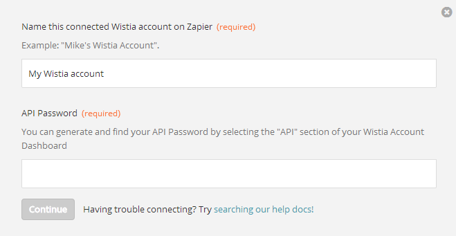 Authenticating your Wistia Account