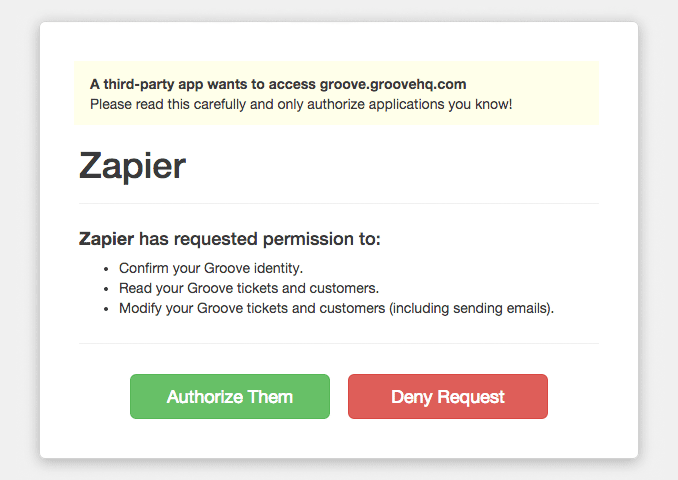 Groove OAuth modal for authorizing Zapier to work with Groove account