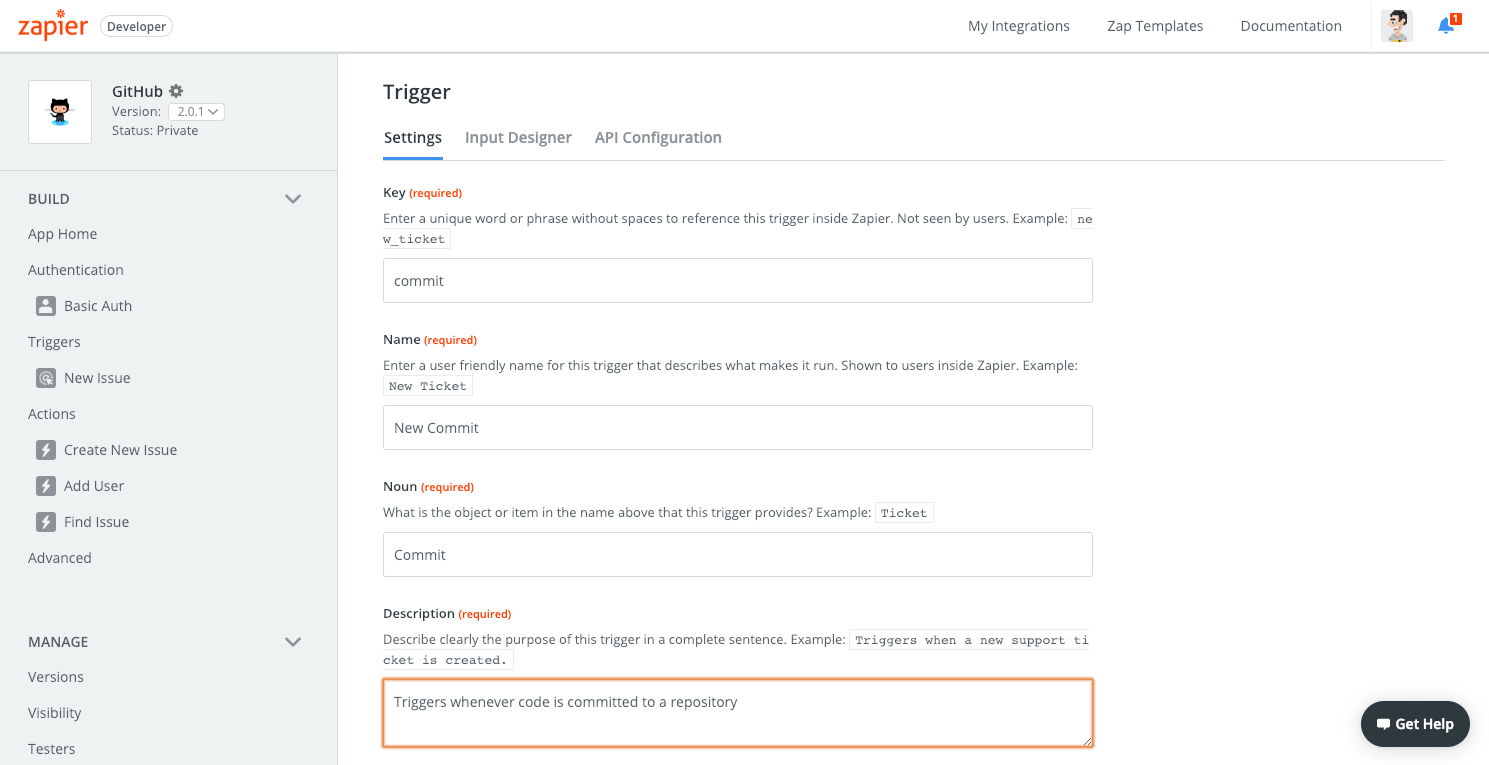 Zapier trigger settings