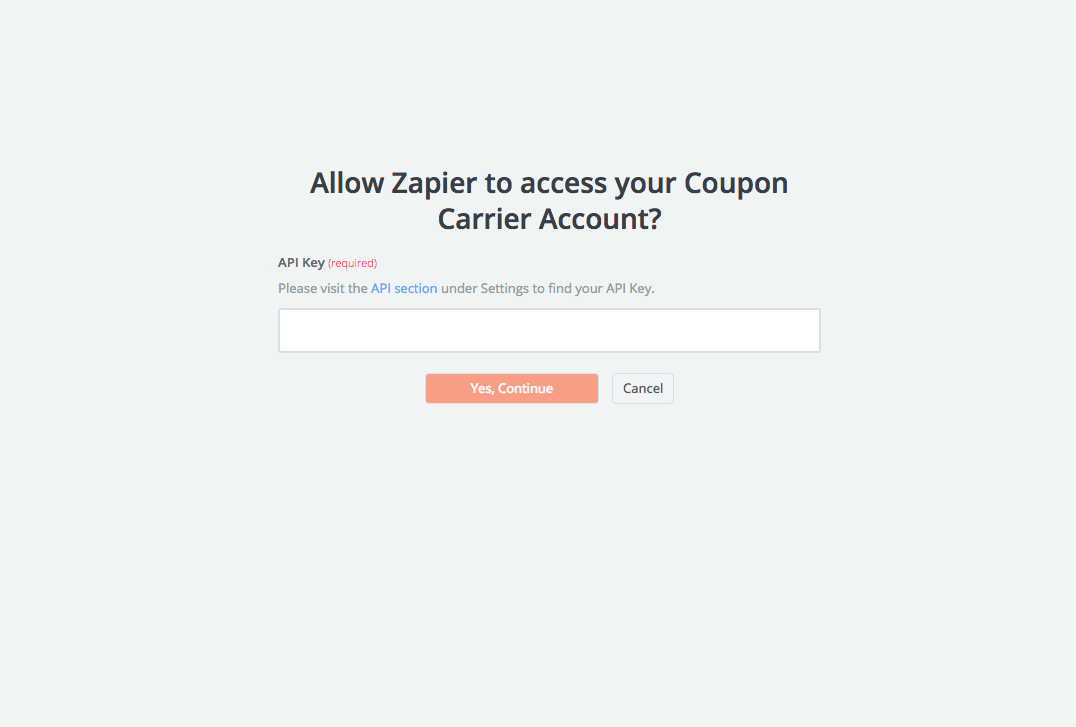 Coupon Carrier API Key