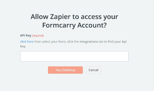Formcarry API Key