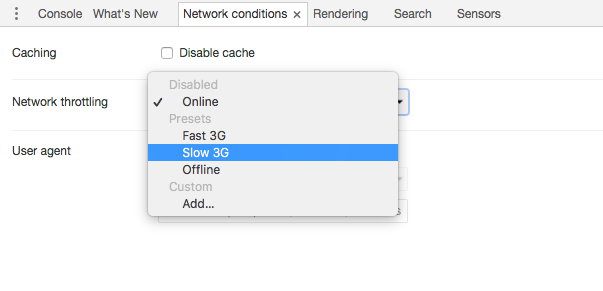Network settings in Chrome inspect element