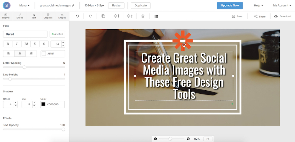 Snappa is ideal for text-heavy social media images