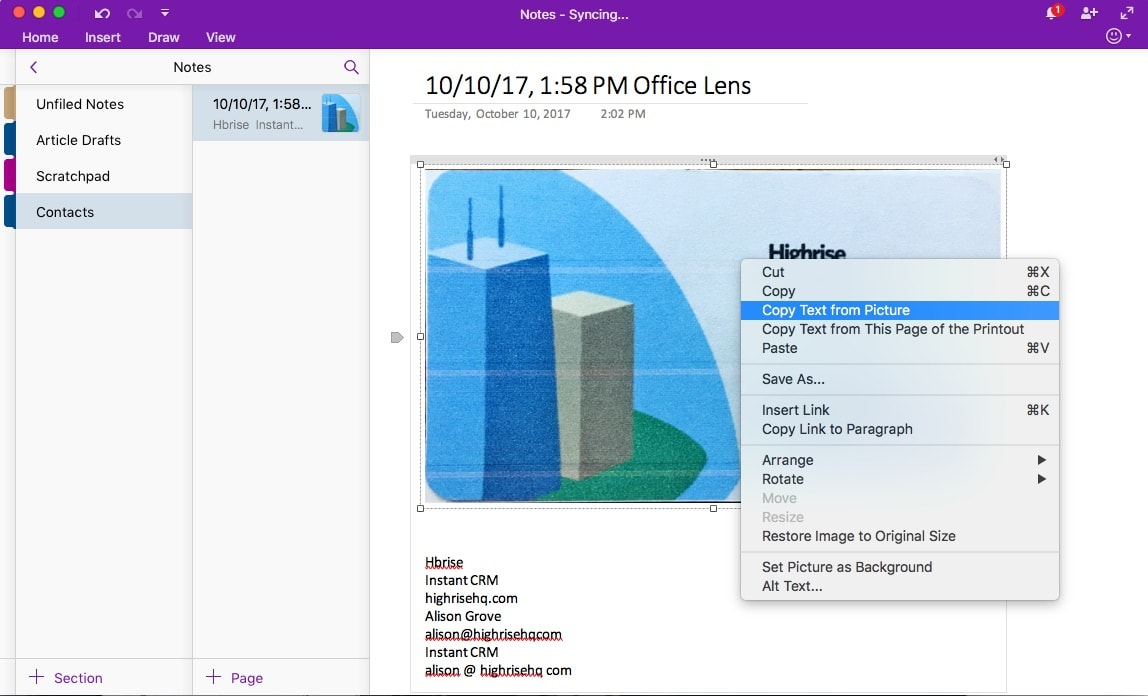 The 6 best business card scanner apps to digitalize contacts and ocr tools like the one in onenote can copy text from business cards too colourmoves
