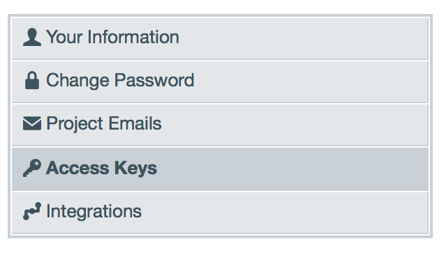 Go to Access Keys page