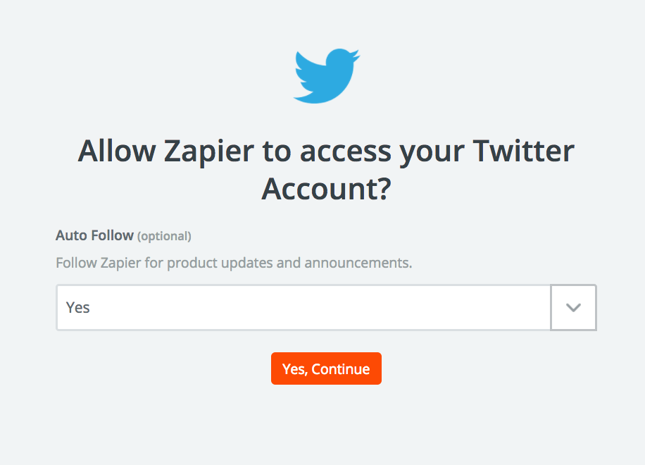 Name the Twitter account inside Zapier