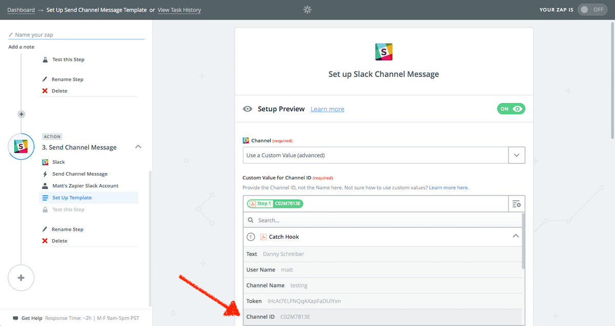 Select correct Slack channel