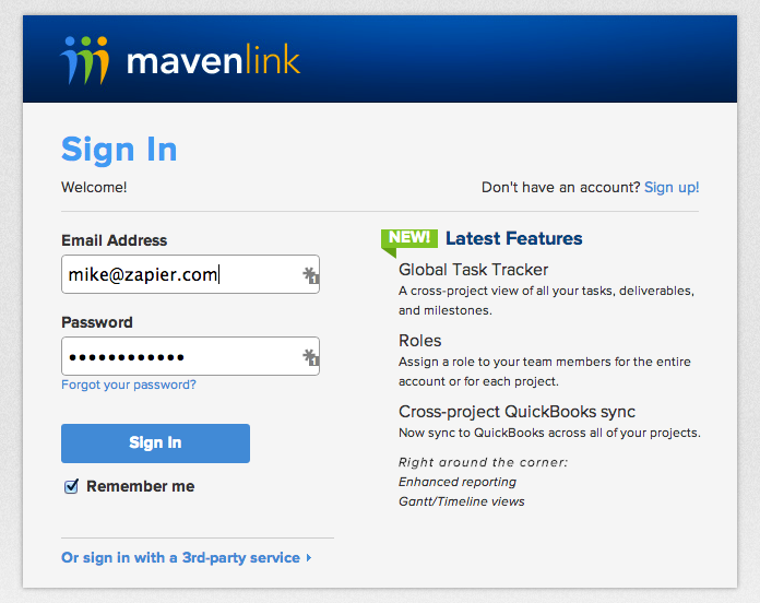 Log in to authorize your Mavenlink account