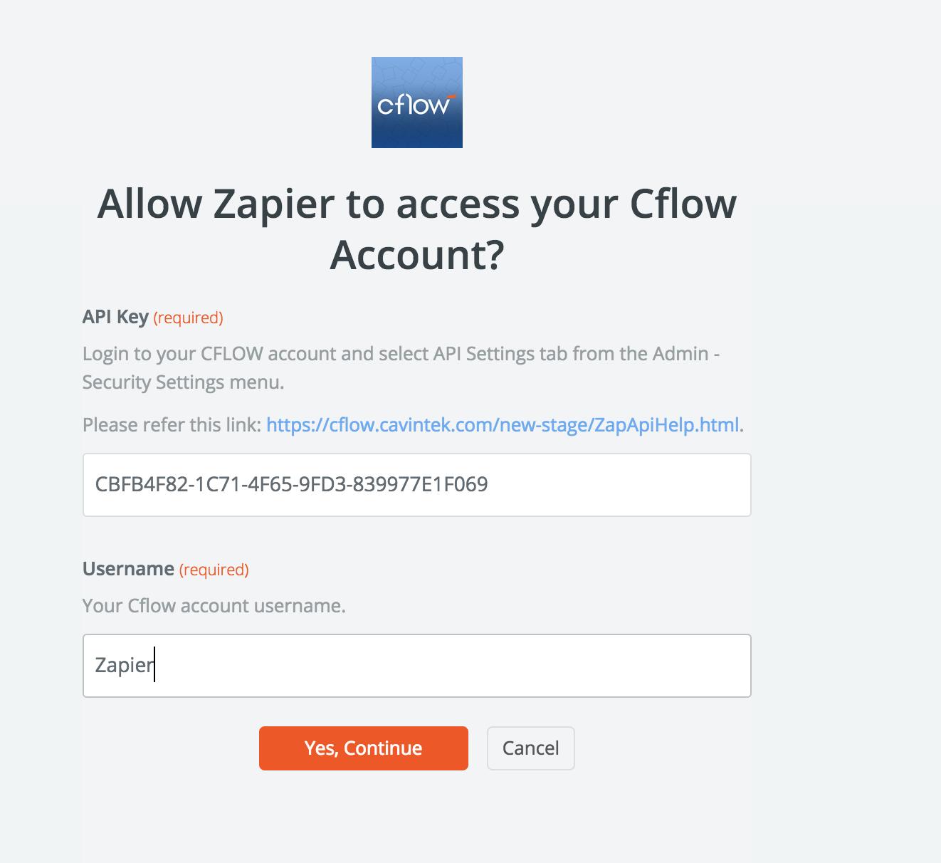Cflow API Key in account