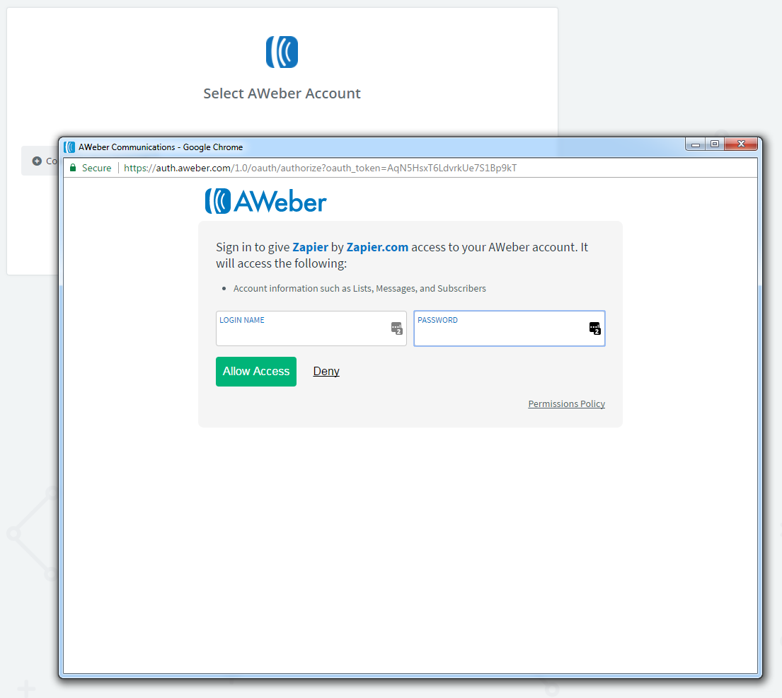 Log in to authorize your AWeber account