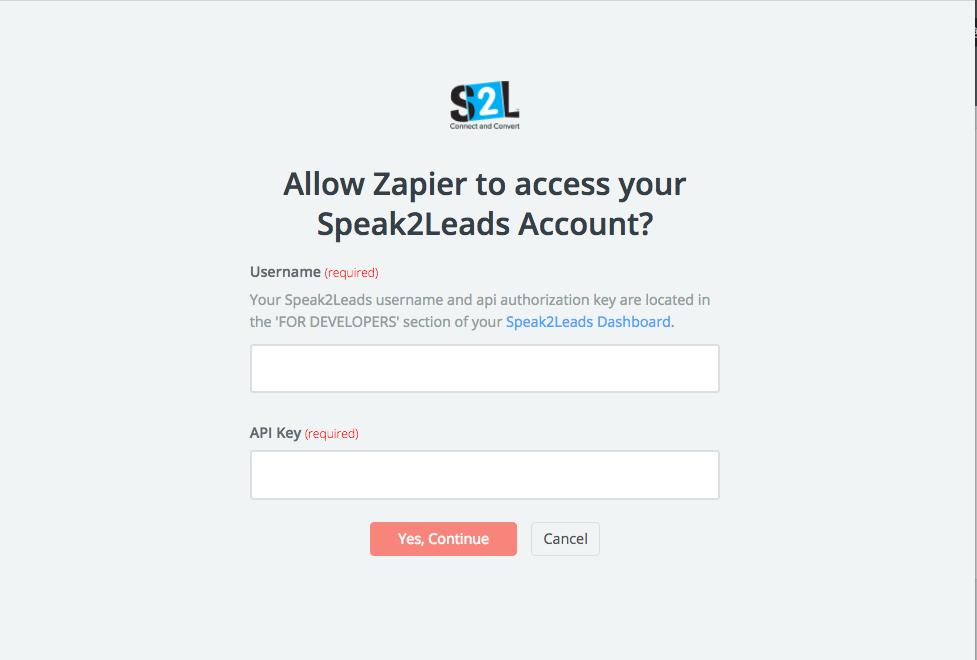 Speak2Leads API Key