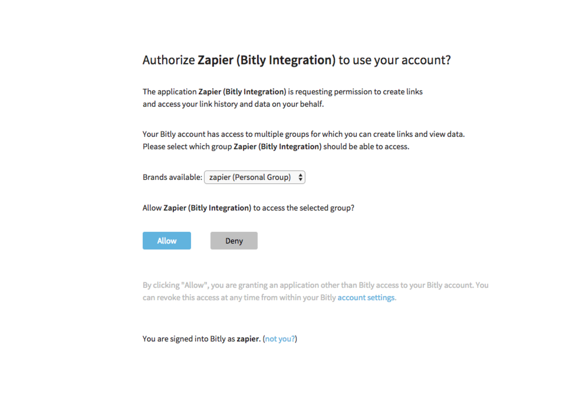 Authorize Bitly on Zapier