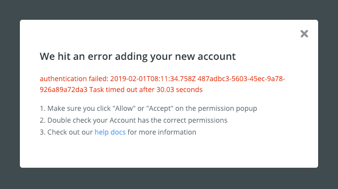 Zapier Authentication Timed Out