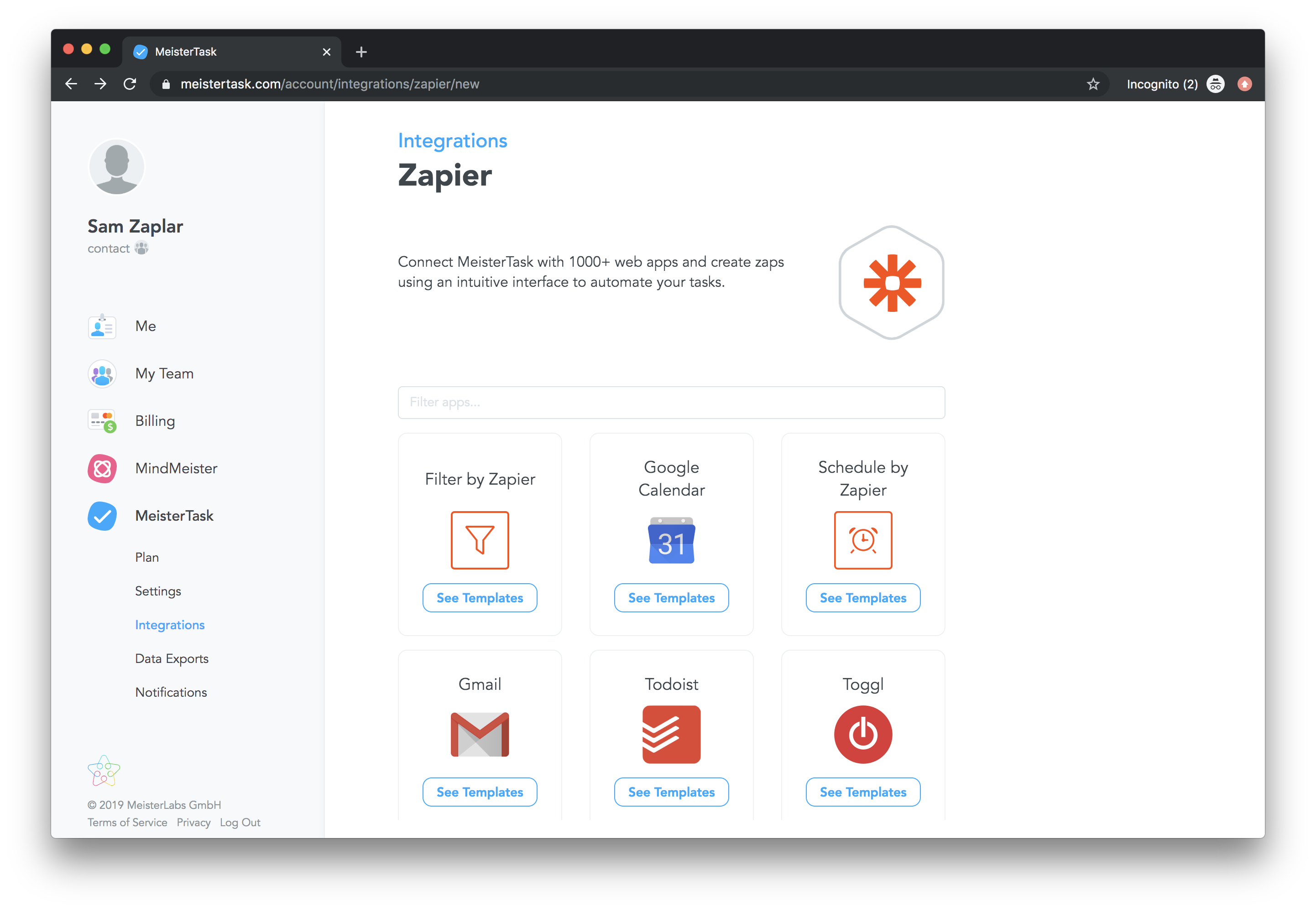 MeisterTask's integration library powered by Zapier