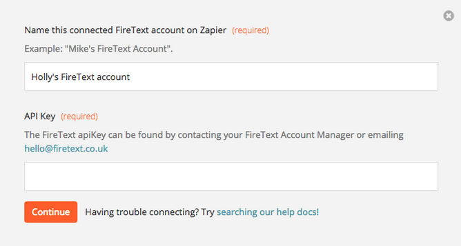 App your FireText API Key to Zapier