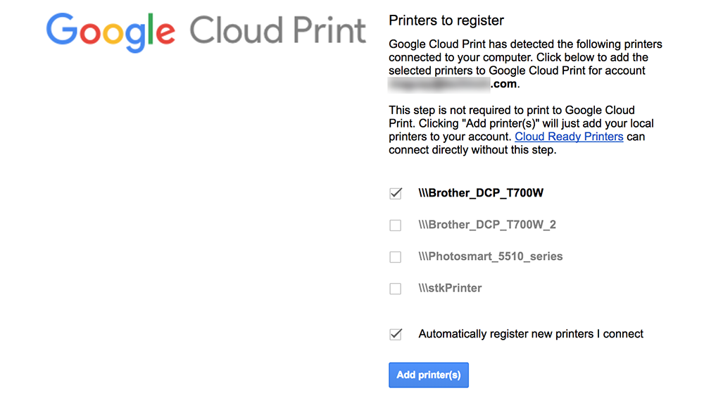 Select printer to add to Google Cloud Print