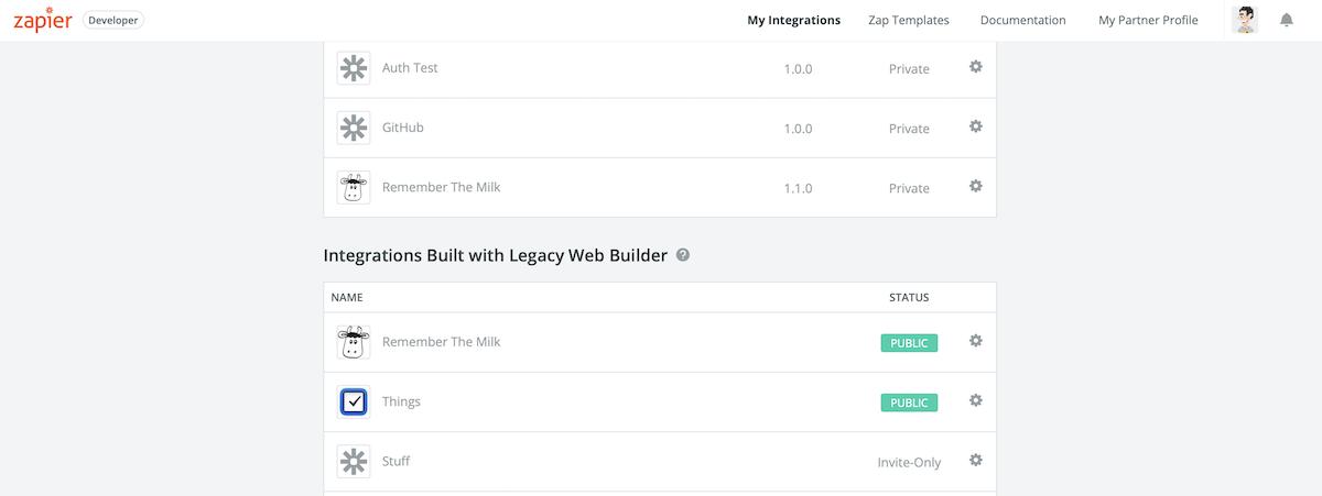 Zapier Legacy Web Builder